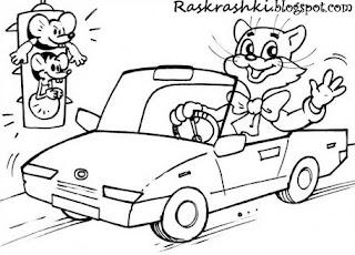 Раскраска Кот Леопольд едет на машине