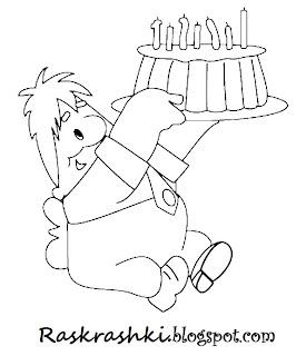 Детская раскраска из мультфильма малыш и карлсон