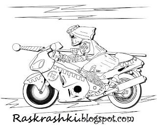 Фантастическая раскраска Рыцарь на мотоцикле
