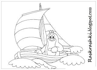 Раскрашка кораблика для малышей