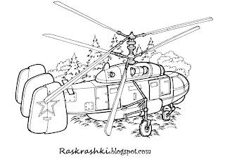 Раскраска для детей транспортный вертолет