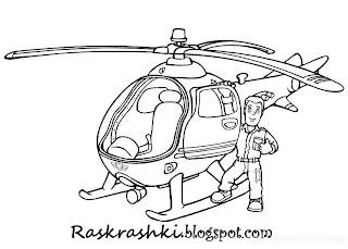 Раскраска детский вертолетик