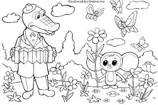 Гена и чебурашка, раскраска для детей
