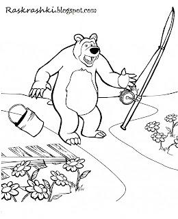 Разукрашка Миши из мультика Маша и Медведь