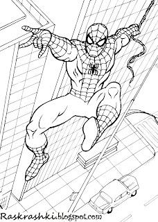 раскрашки spider man