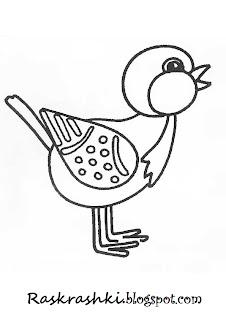 Раскрашка для детей птичка