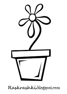 раскрашки цветочков для самых маленьких