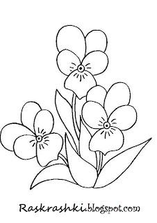 раскрашки для самых маленьких цветочки