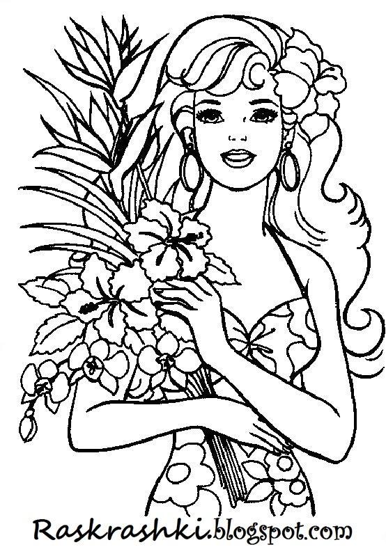 Раскраски для девочек барби с кеном