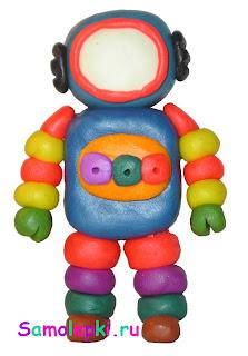 поделка из пластилина для детей космонавт