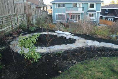 New garden flagstone pathway