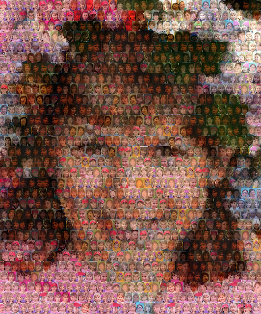 Photo mosaic portrait with 1000 tiles