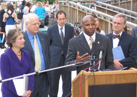 Terron Sims speaks at a press conference for The Responsibility to Iraqi Refugees Act