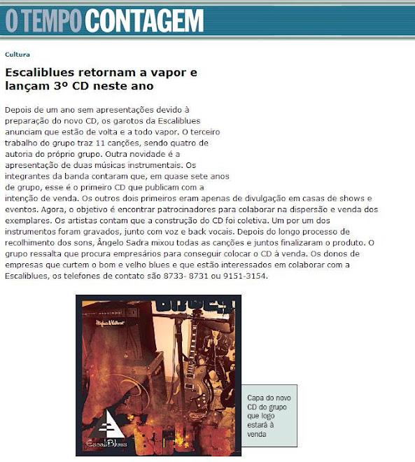 """Jornal """"O Tempo Contagem"""" 20-02-2009"""