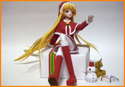 PAPERCRAFT CYBER: Anime Girl Christmas Papercraft