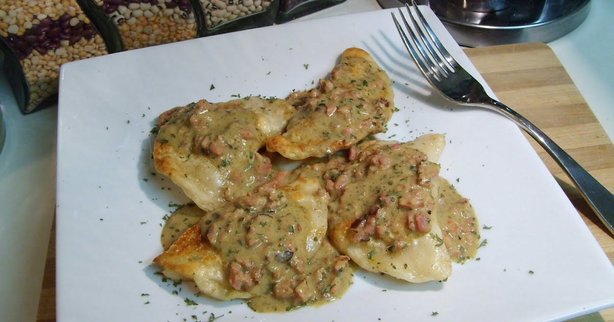 ... and Caramelized Onion Perogies with Ham and Mustard Brown Butter Sauce