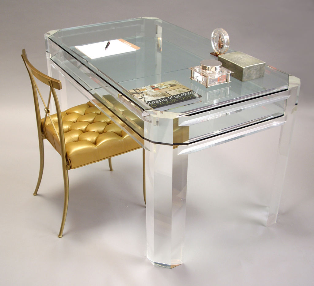 can i have this?!? lucite and glass desk to dream for, 1970s