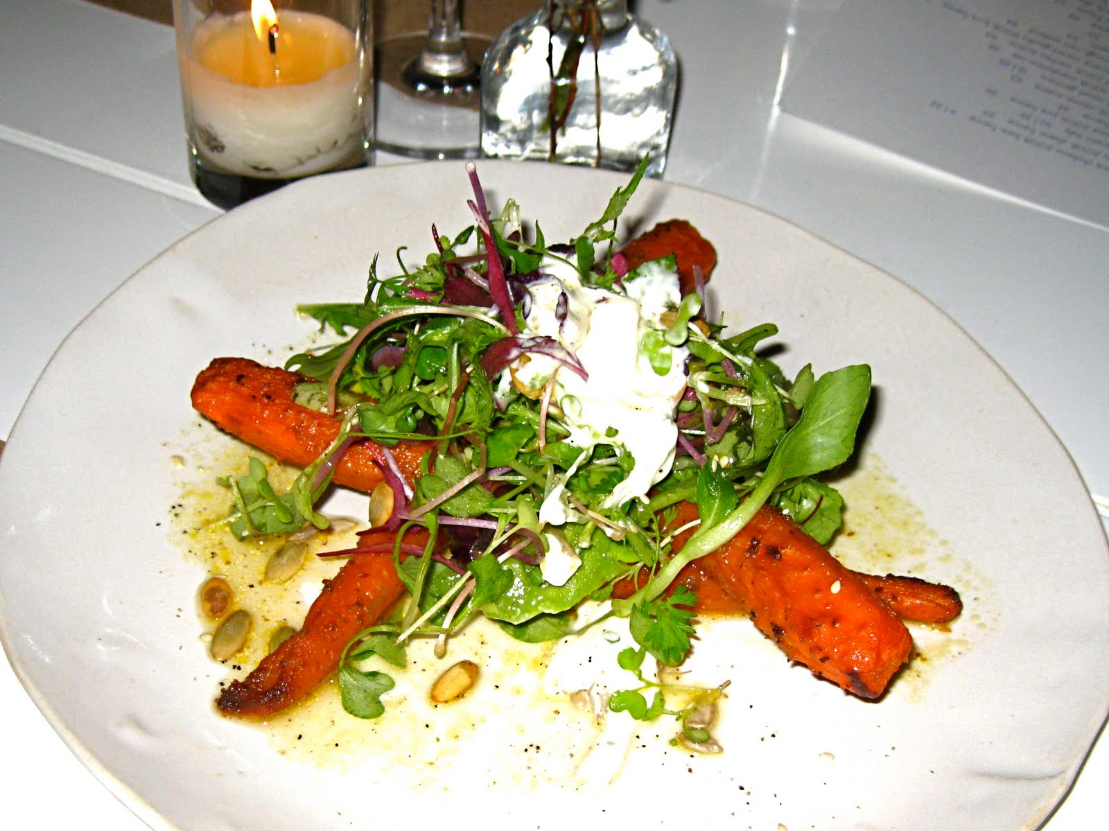 Roast carrot and avocado salad with crunchy seeds, sour cream, and ...