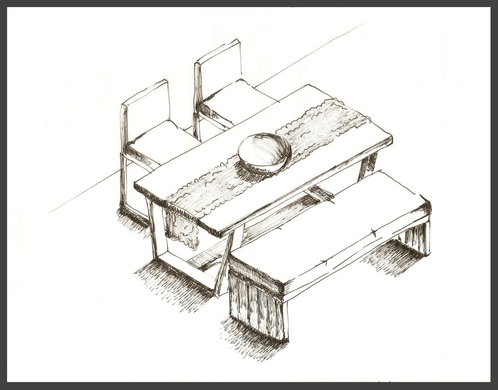 pillow drawing isometric - HD1600×1254