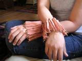 Pleated copper mesh cuffs