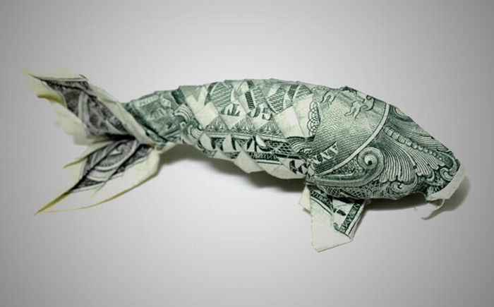 Money origami 20 pics curious funny photos pictures for Origami koi fish