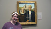 At the Chicago Art Institute with Grant Wood&#39;s &#39;American Gothic&#39;. Iowa&#39;s claim to fame!