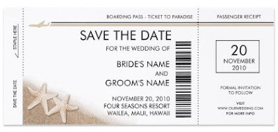 Boarding Pass Save the Date Invitations cards