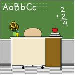 A picture of a teacher's desk with an apple on it and addition problem written on the chalkboard in the background