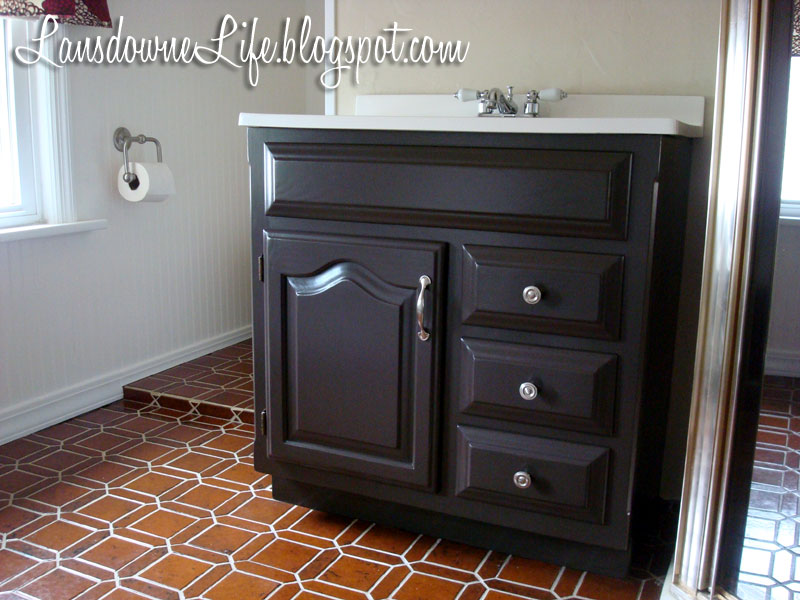 100 bathroom challenge painting the vanity lansdowne life - Painting bathroom cabinets black ...