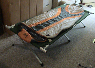 sleeping bag on cot