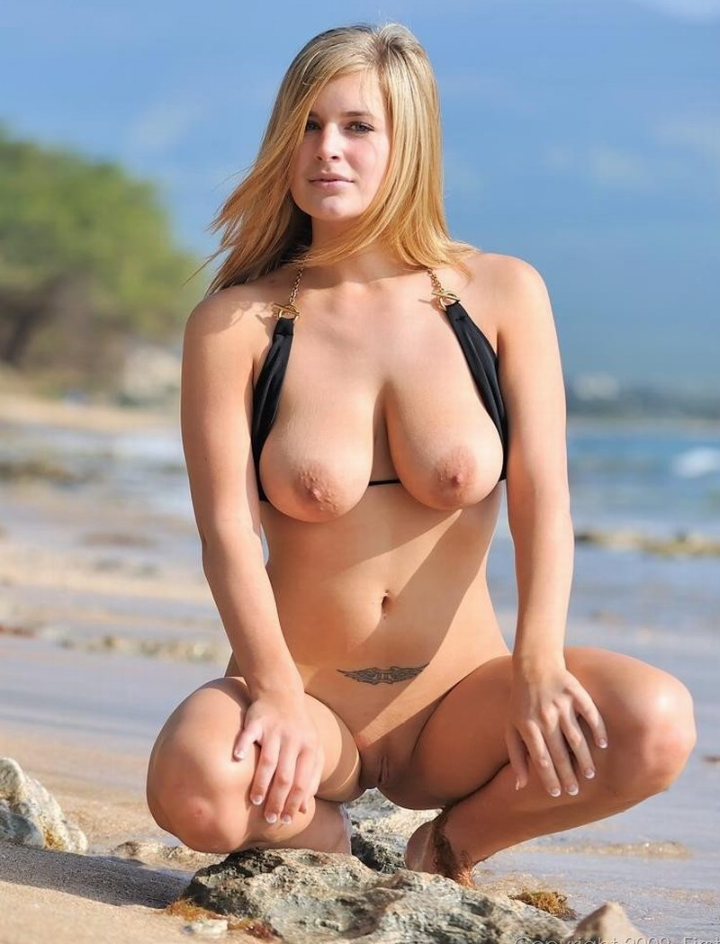 Sexy blonde with big tits and shaved pussy posing nude on the beach Srilankan Nude, Famke