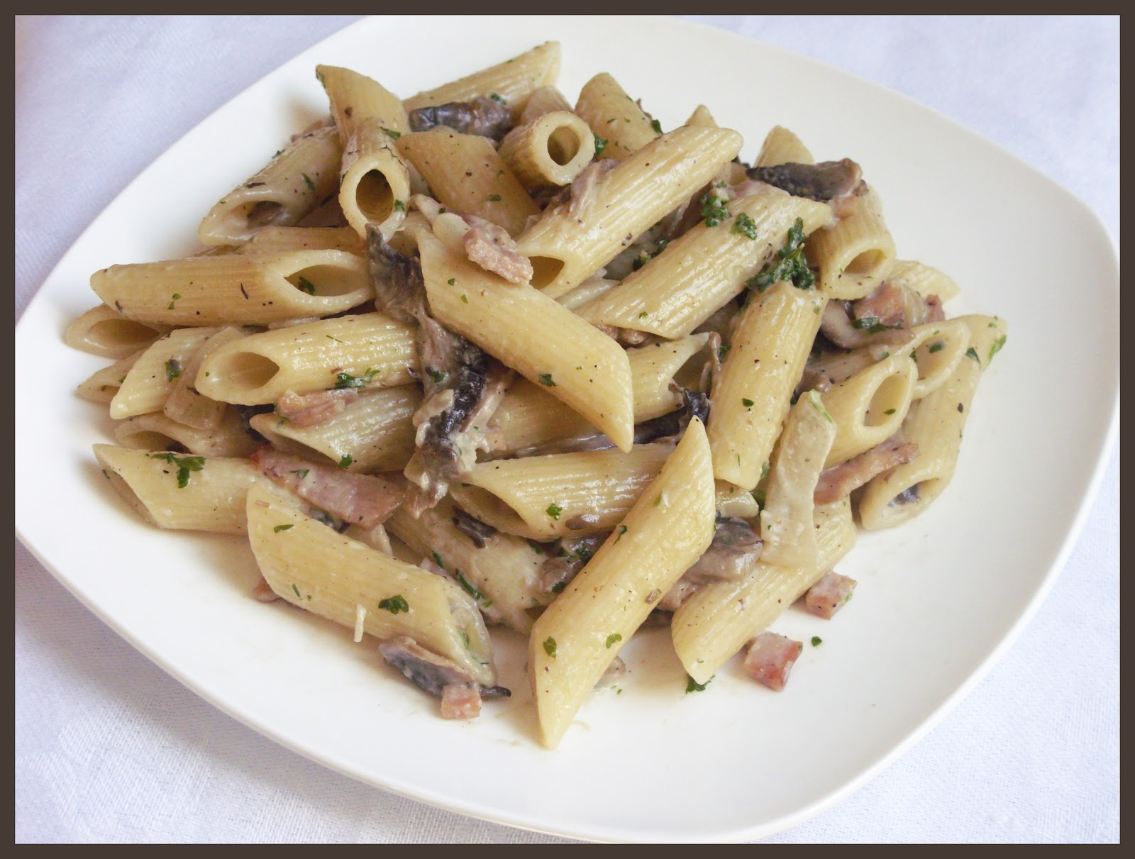 Паста с грибами и беконом в сливочном соусе рецепт пошагово
