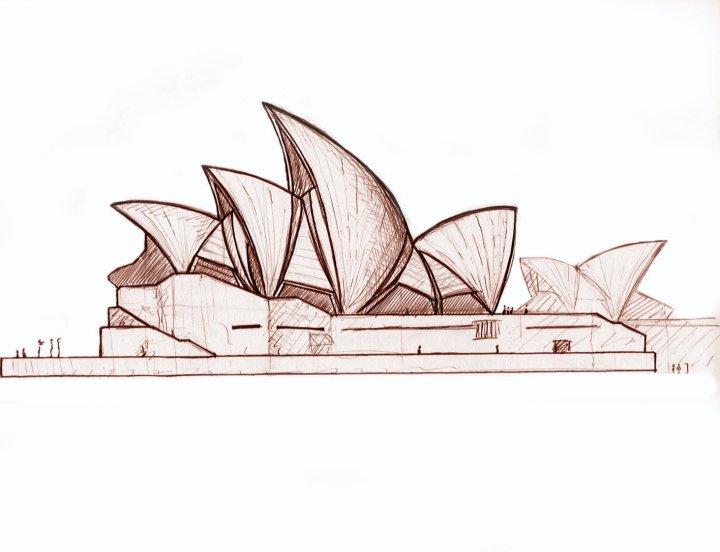 dessins sketch jorn utzon 39 s sydney opera. Black Bedroom Furniture Sets. Home Design Ideas
