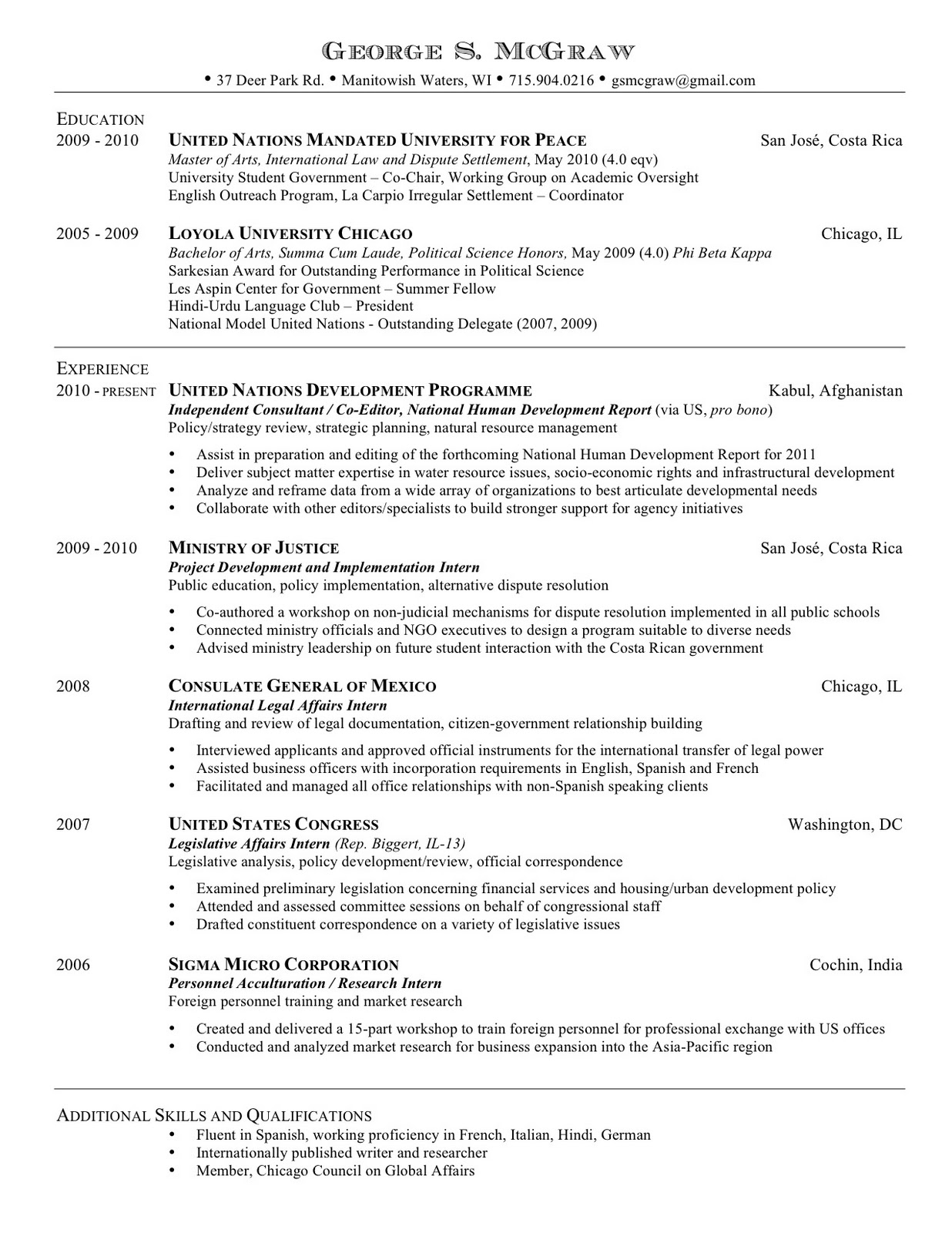 resume and publications resume