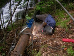welding the 8 inch penstock
