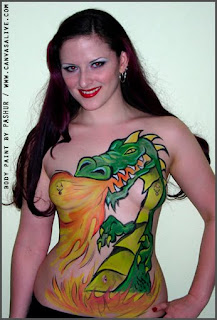 dragon body paint of the front cover a woman's body