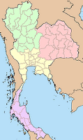 Map of Thailand with the four regions colorcoded