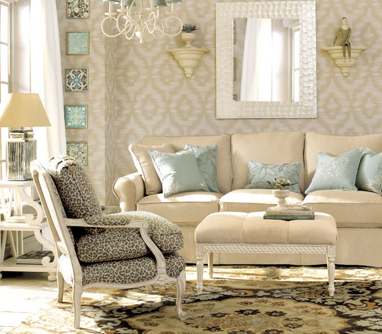 Blue Cream and Beige Living Room