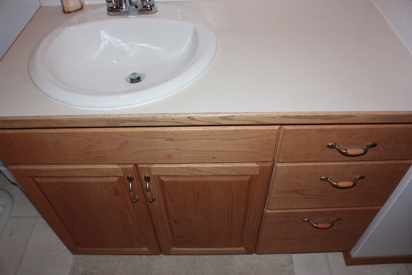 Life and home renos bathroom reno stained vanity for How to stain a bathroom vanity