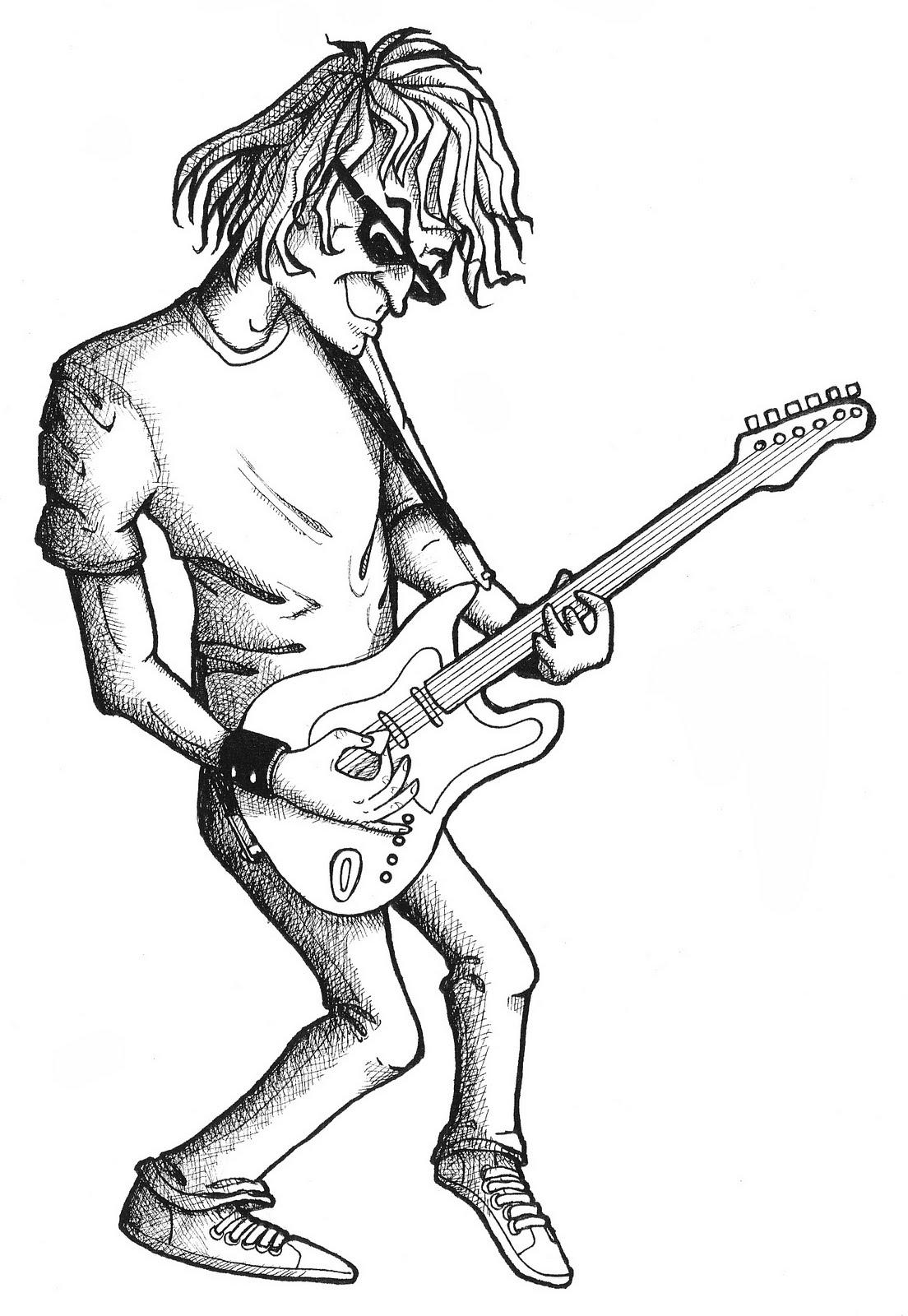 how to draw a cartoon guitar