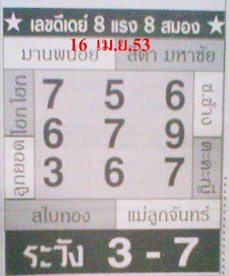 Best Thai Lotto Papers 16 April 2010 Free Thai Lotto Tips