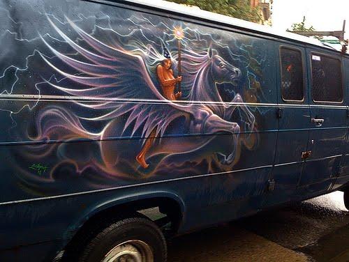 Cyclopeatron more fantasy van murals for Airbrush mural painting