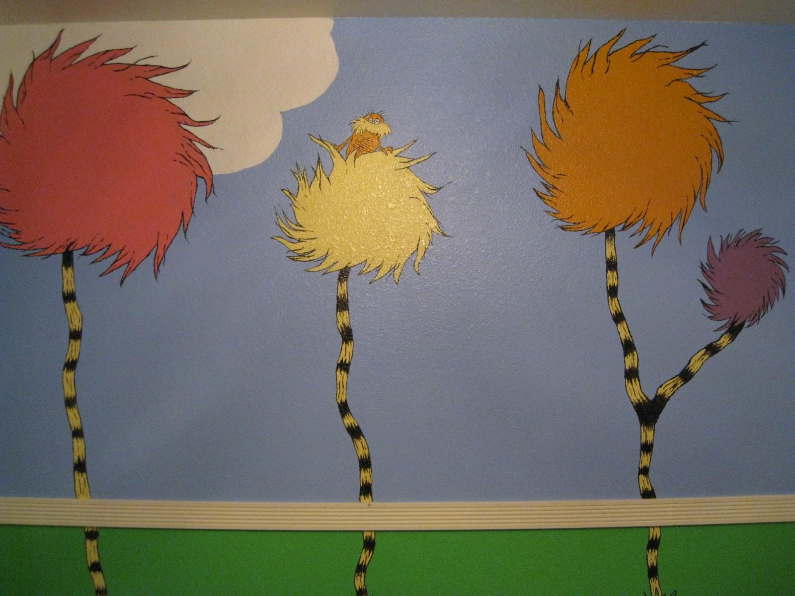 The reno sparks mom diy dr seuss lorax nursery mural for Dr seuss mural