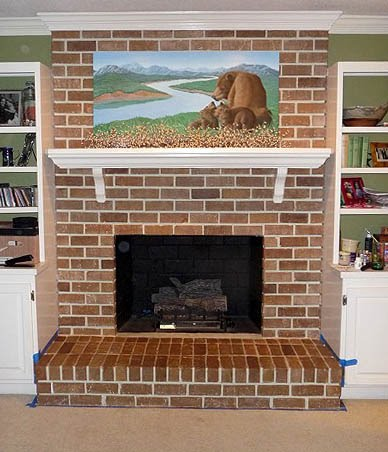 Painting Brick Fireplace - From White to Beautiful Brownstone ...