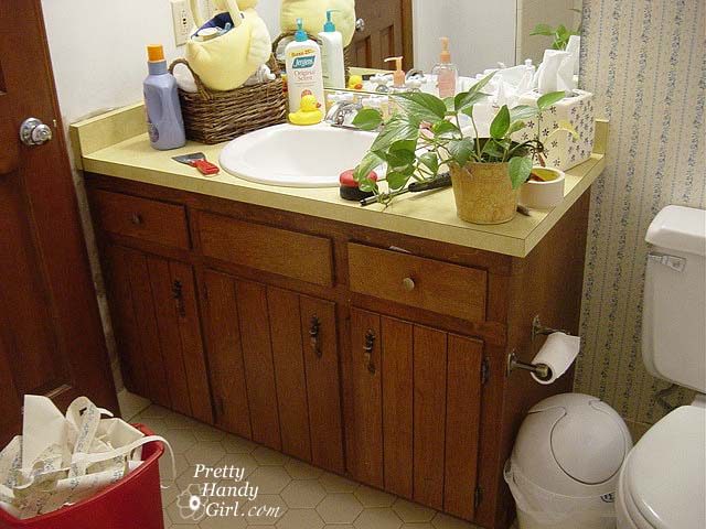 Bathroom Makeover Vanity 1970's guest bathroom makeover - pretty handy girl