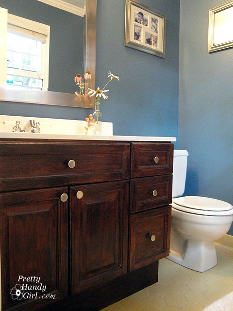 I have a dirty little secret my master bathroom is ugly pretty handy girl for How to stain a bathroom vanity