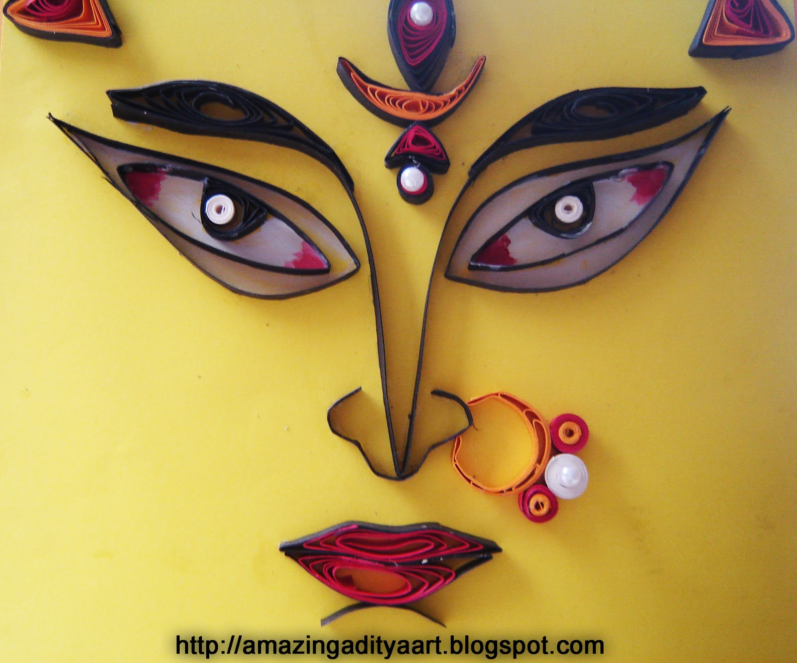 Amazing quilling art n paintings adis creations durga puja card cord no adi f 104 kristyandbryce Image collections