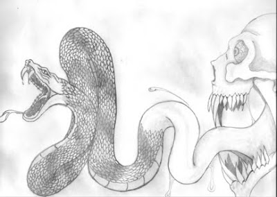 Garys greetings skull and a snake i have two versions of the same drawing here after finishing the first one i took a look at it and decided that something just didnt fit altavistaventures Images