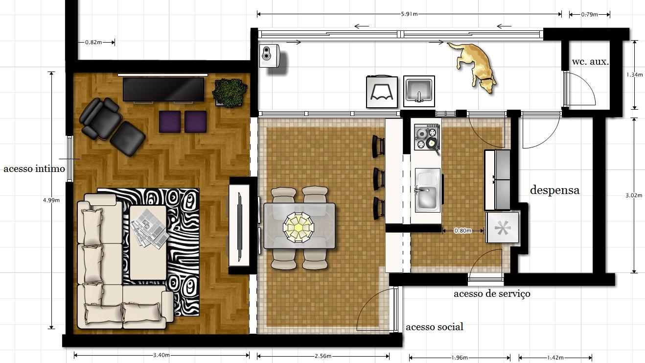 decoracao de cozinha integrada a sala de jantar:prevê o uso de móveis existentes (mesa de jantar com tampo de
