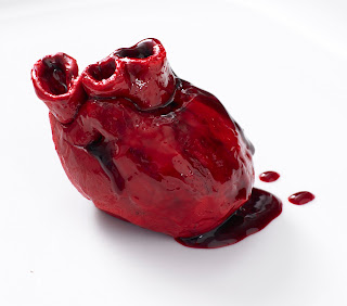 edible bleeding heart valentine's cake